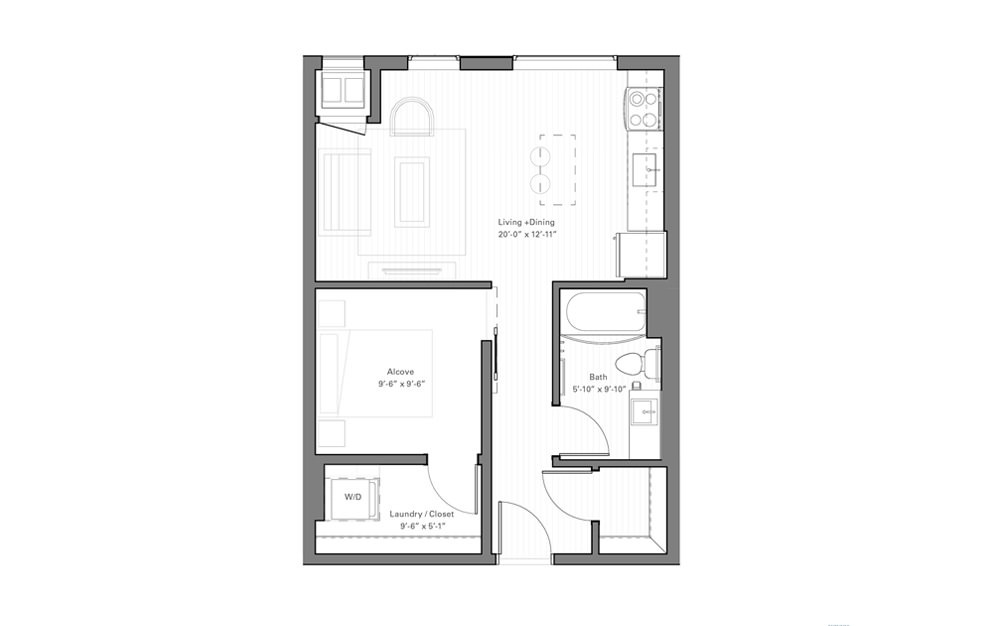 Irvine B - Studio floorplan layout with 1 bath and 554 square feet.