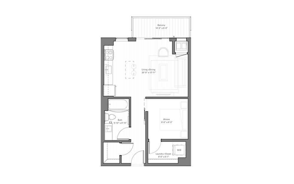 Irvine B - alt - Studio floorplan layout with 1 bath and 570 square feet.