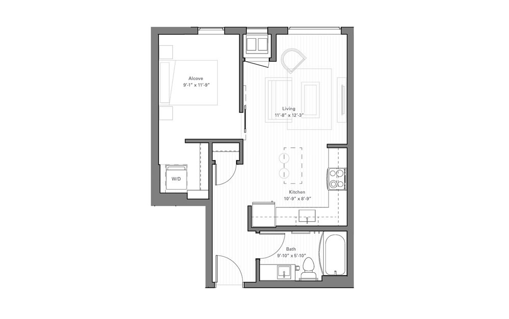 Irvine C - Studio floorplan layout with 1 bath and 527 square feet.