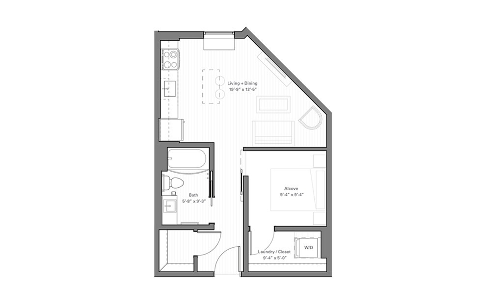 Irvine E - Studio floorplan layout with 1 bath and 508 square feet.