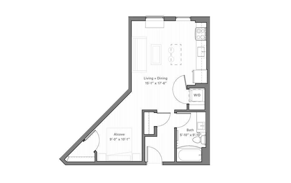 Irvine F - Studio floorplan layout with 1 bath and 510 square feet.