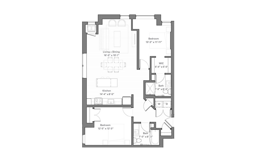 Lilidale B lvl 2 - 2 bedroom floorplan layout with 2 baths and 1080 square feet.