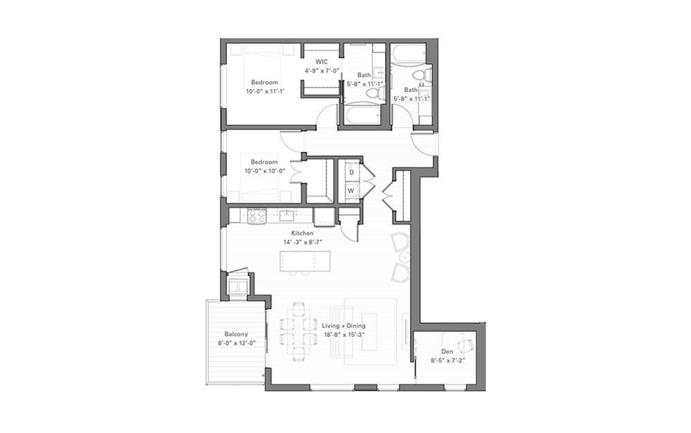 Lilidale C - 2 bedroom floorplan layout with 2 baths and 1203 square feet.