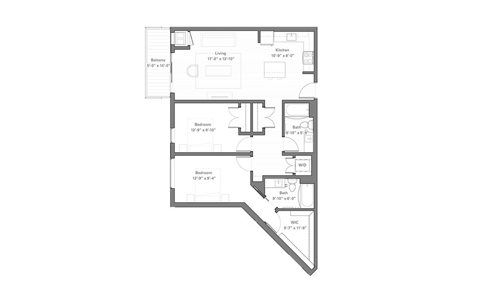 Lilidale D - 2 bedroom floorplan layout with 2 baths and 1040 square feet.