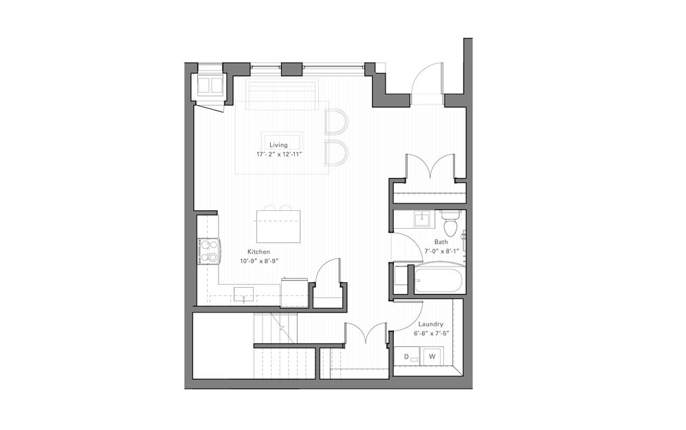 Lilidale Ew - Walkup - 2 bedroom floorplan layout with 2 baths and 1430 square feet. (Floor 1)