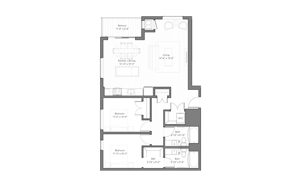 Lilidale F - 2 bedroom floorplan layout with 2 baths and 1052 square feet.