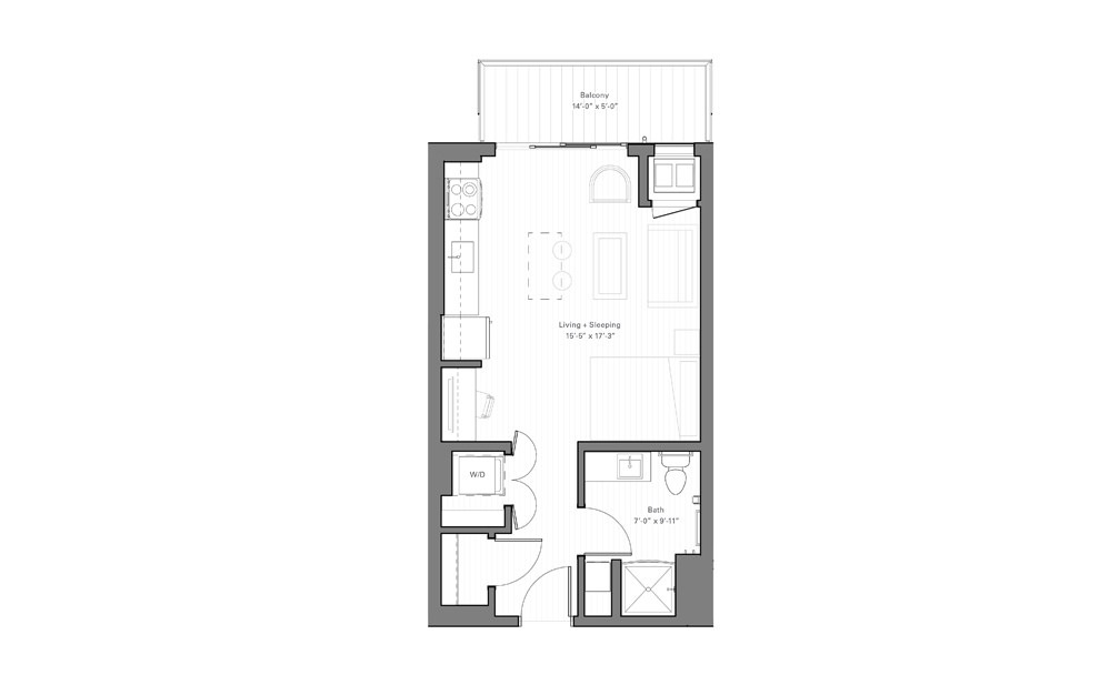 Mears B - Studio floorplan layout with 1 bath and 427 square feet.