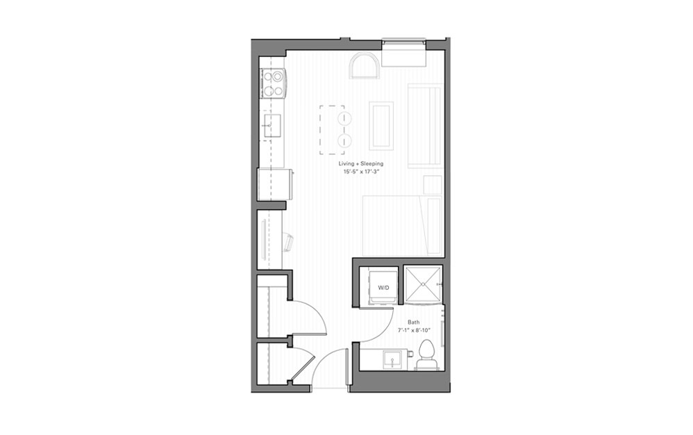 Mears C lvl 3 - Studio floorplan layout with 1 bath and 423 square feet.