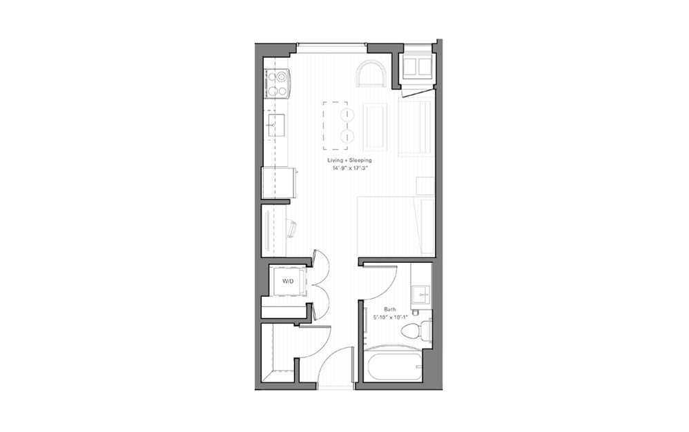 Mears D - Studio floorplan layout with 1 bath and 401 square feet.