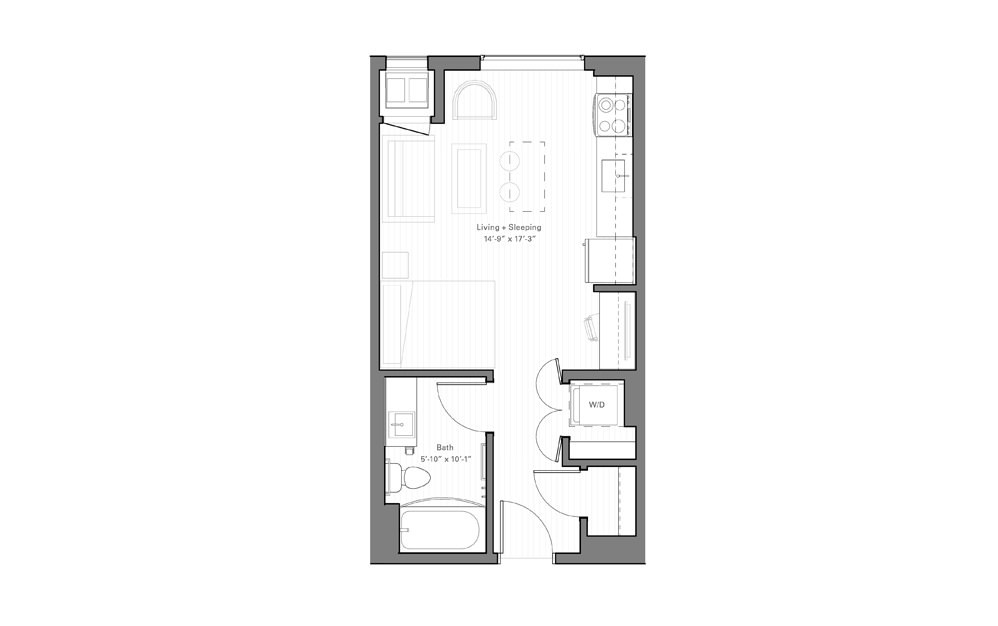 Mears D - alt - Studio floorplan layout with 1 bath and 405 square feet.