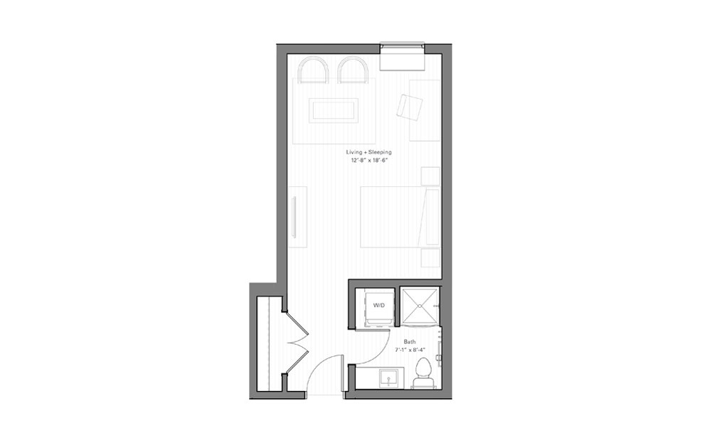 Mears F - Studio floorplan layout with 1 bath and 371 square feet.