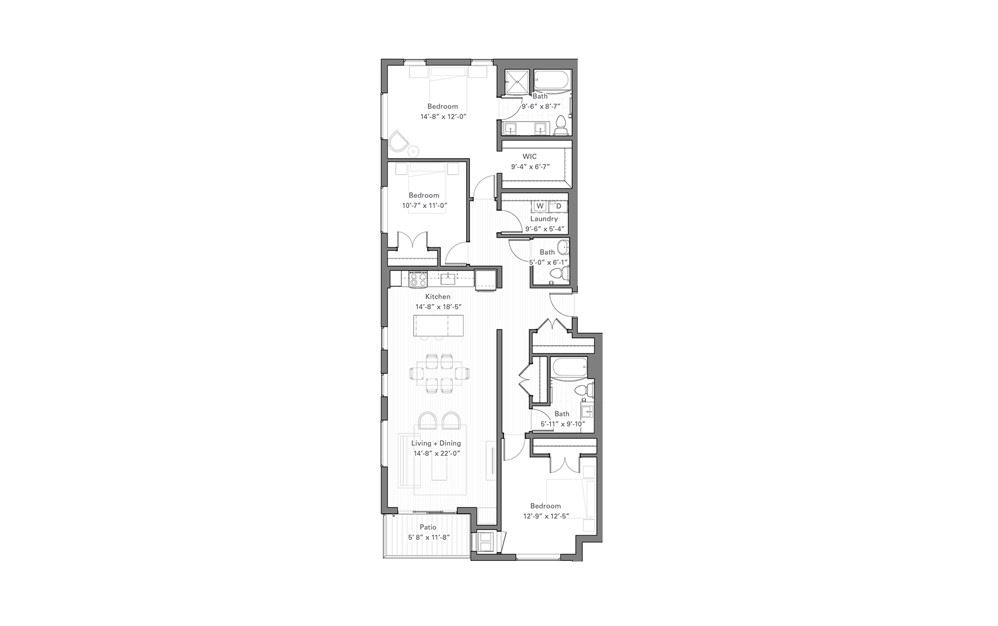 Phalen B lvl 2 - 3 bedroom floorplan layout with 2.5 baths and 1554 square feet.