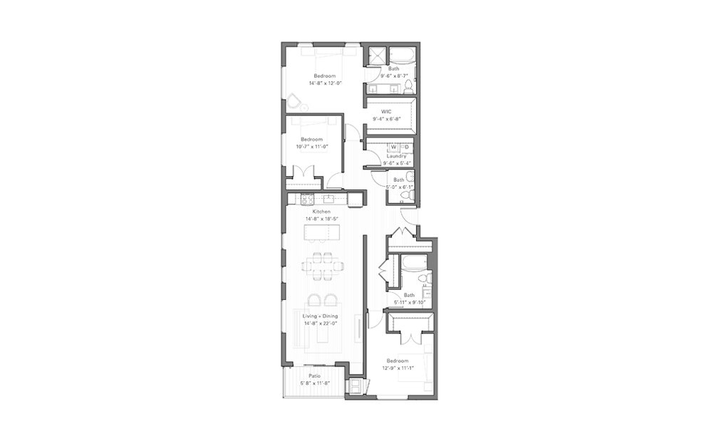 Phalen B - 3 bedroom floorplan layout with 2.5 baths and 1563 square feet.