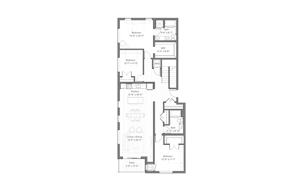 Phalen Bp - Penthouse - 3 bedroom floorplan layout with 2 baths and 1787 square feet. (Floor 1)