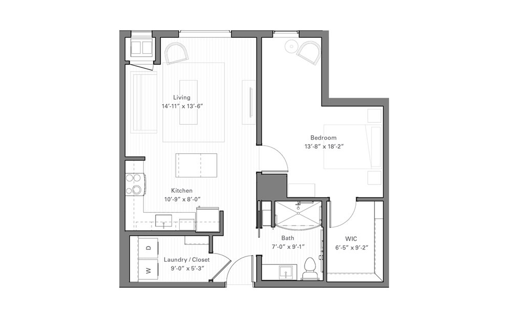 Rice A - 1 bedroom floorplan layout with 1 bath and 750 square feet.