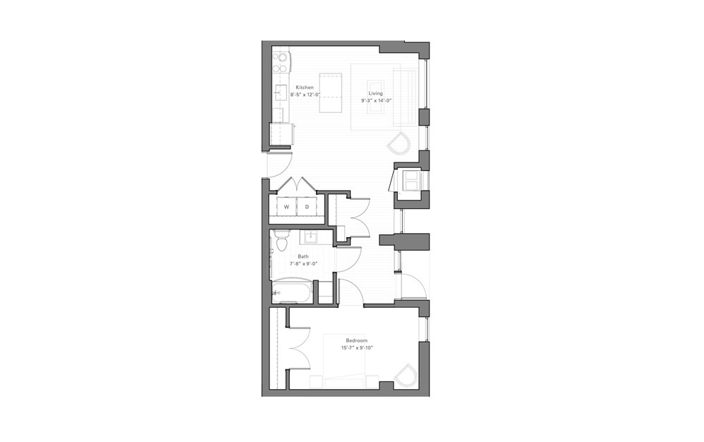 Rice Aw - Walkup - 1 bedroom floorplan layout with 1 bath and 729 square feet.