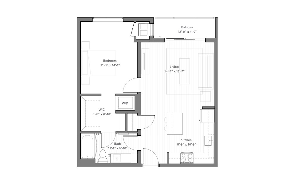 Rice B - 1 bedroom floorplan layout with 1 bath and 672 square feet.