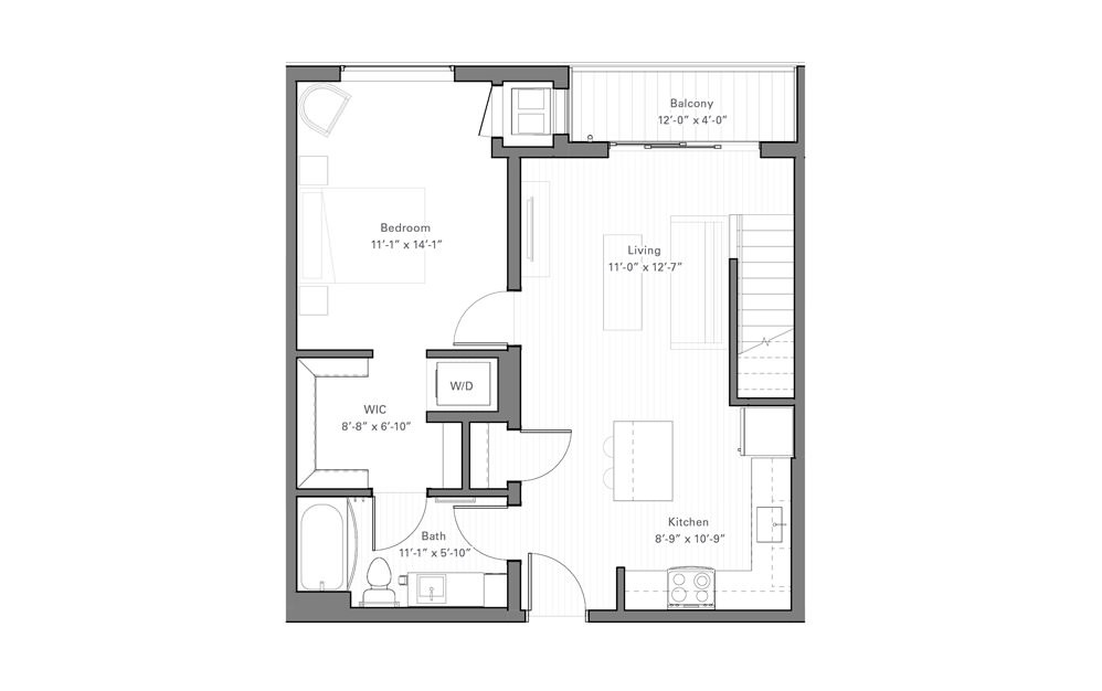 Rice Bp - Penthouse - 1 bedroom floorplan layout with 1 bath and 770 square feet. (Floor 1)