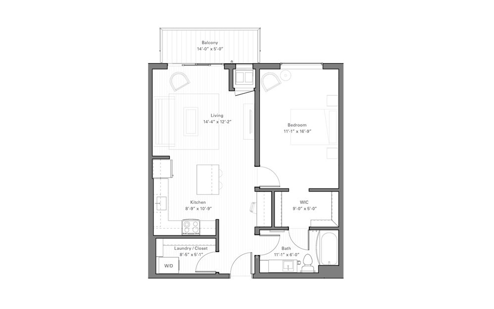 Rice C - 1 bedroom floorplan layout with 1 bath and 749 square feet.