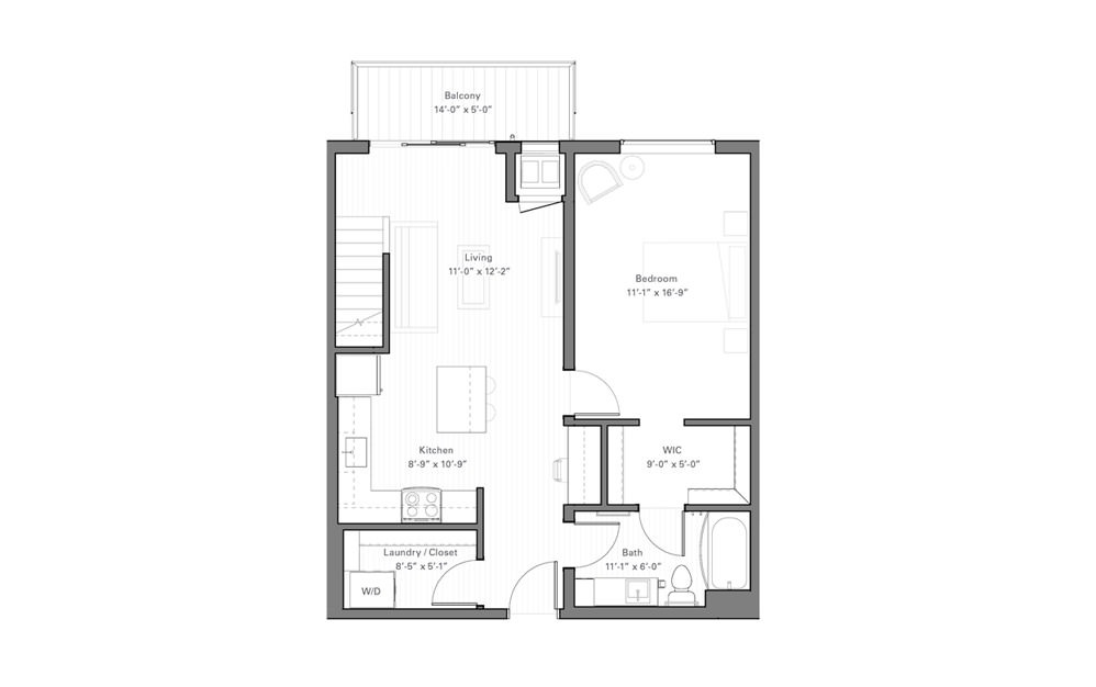 Rice Cp - Penthouse - 1 bedroom floorplan layout with 1 bath and 868 square feet. (Floor 1)