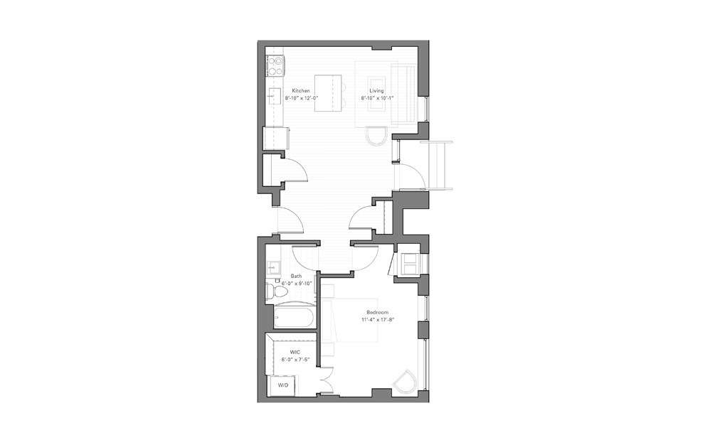 Rice Cw - Walkup - 1 bedroom floorplan layout with 1 bath and 703 square feet.