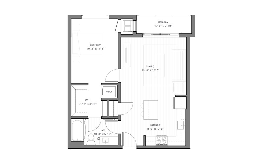 Rice D - 1 bedroom floorplan layout with 1 bath and 648 square feet.