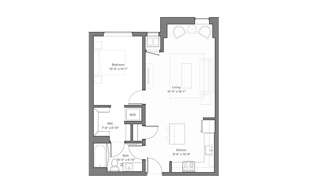 Rice D lvl 2 - 1 bedroom floorplan layout with 1 bath and 716 square feet.