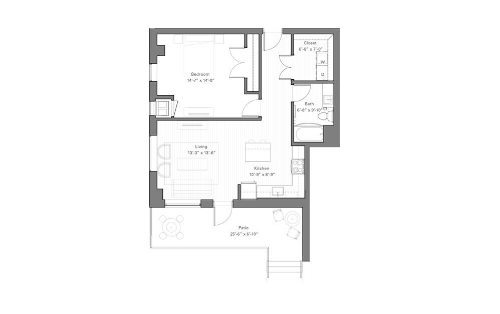 Rice Dw - Walkup - 1 bedroom floorplan layout with 1 bath and 801 square feet.
