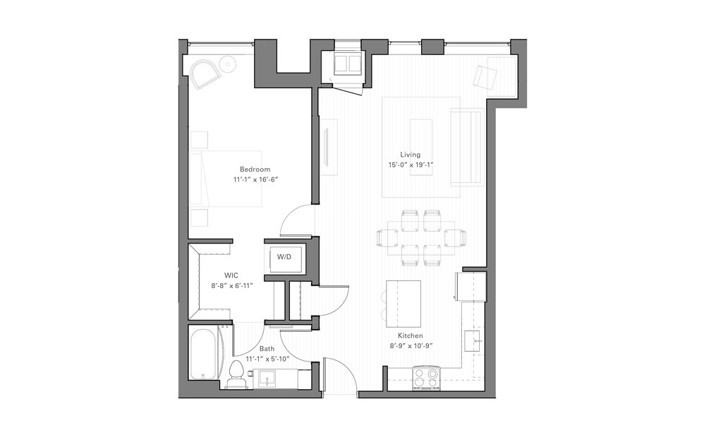 Rice E lvl 2 - 1 bedroom floorplan layout with 1 bath and 737 square feet.