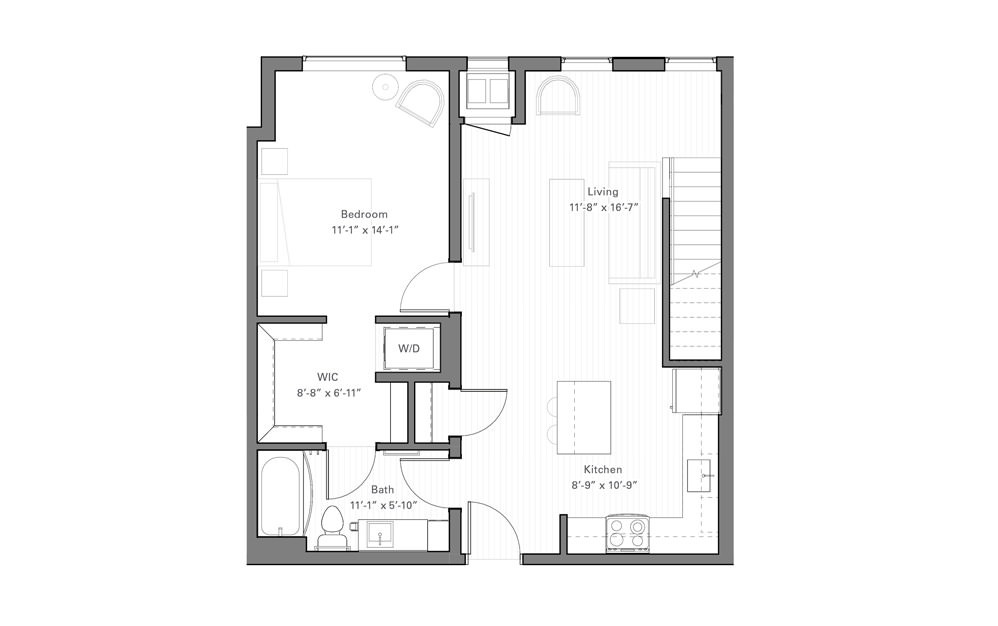 Rice Ep - Penthouse - 1 bedroom floorplan layout with 1 bath and 867 square feet. (Floor 1)