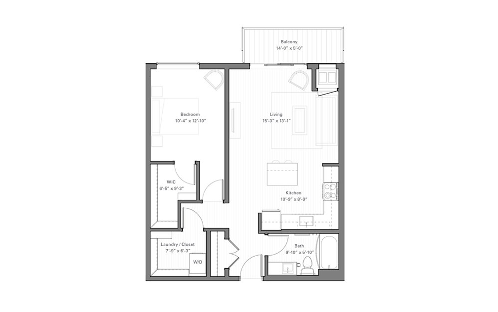 Rice G - 1 bedroom floorplan layout with 1 bath and 750 square feet.