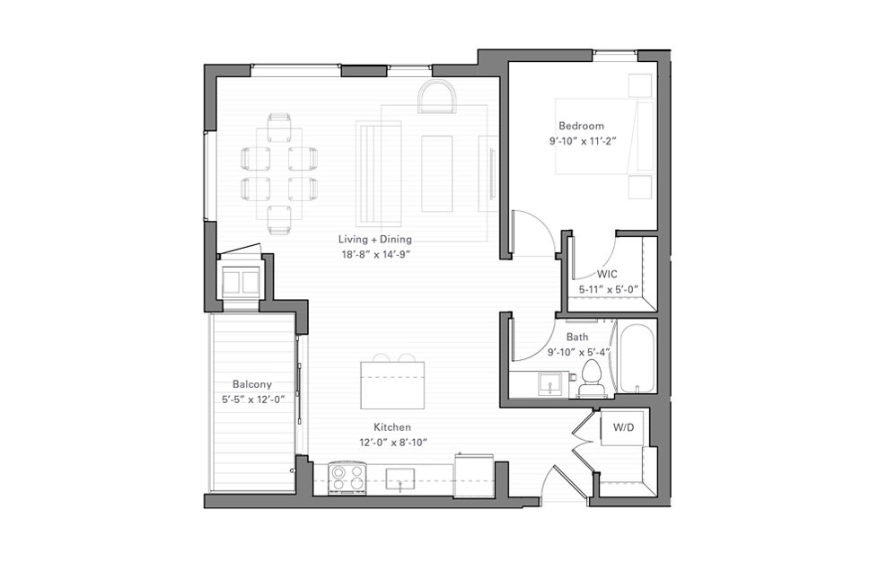 Rice H - 1 bedroom floorplan layout with 1 bath and 740 square feet.
