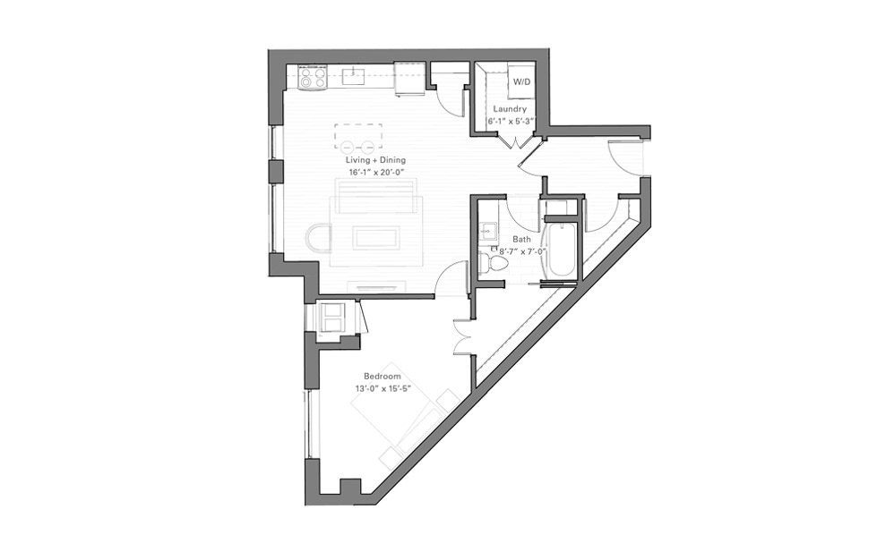 Rice J - 1 bedroom floorplan layout with 1 bath and 781 square feet.